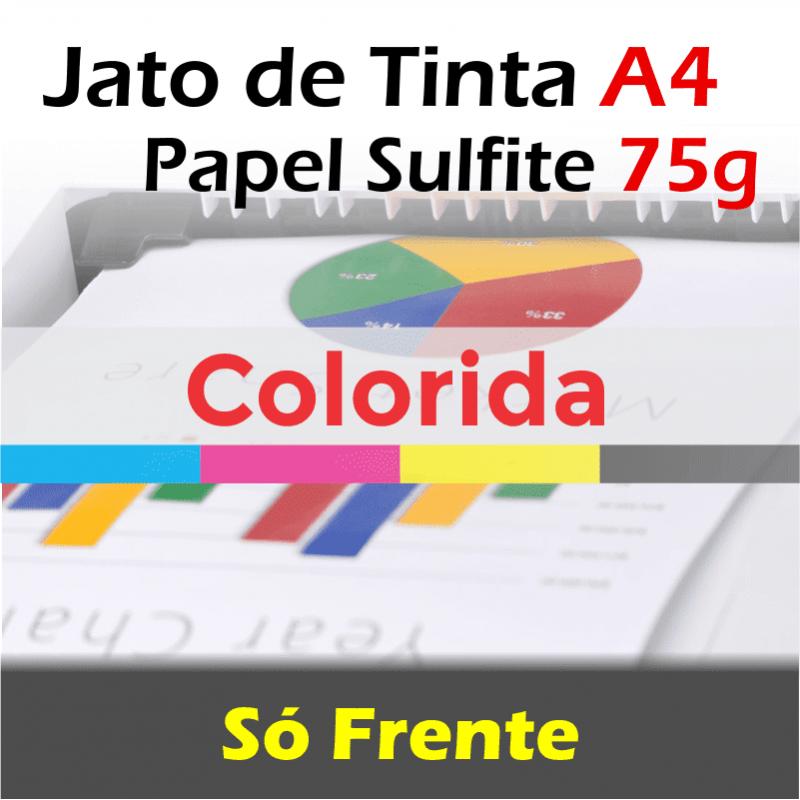 Impressão A4 colorida jato tinta papel sulfite 75...