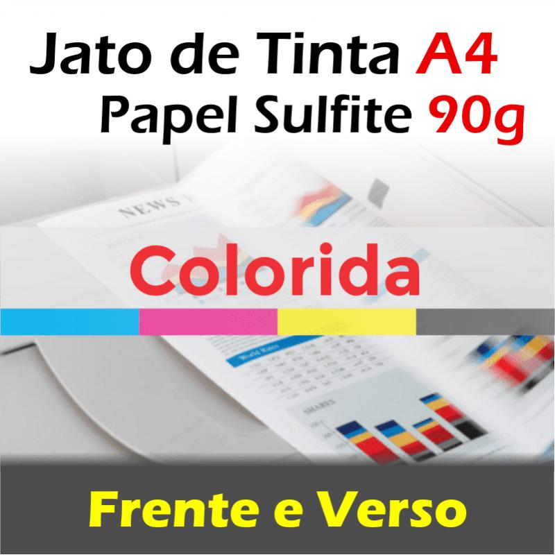 Impressão A4 colorida jato tinta papel sulfite 90...